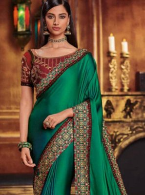 Embroidered Green Fancy Fabric Traditional Designer Saree