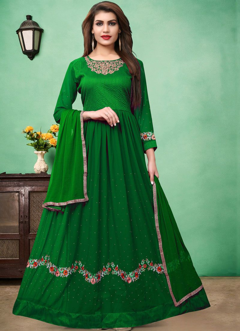 Embroidered Green Faux Georgette Floor Length Anarkali Suit