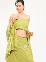 Embroidered Green Faux Georgette Lehenga Choli