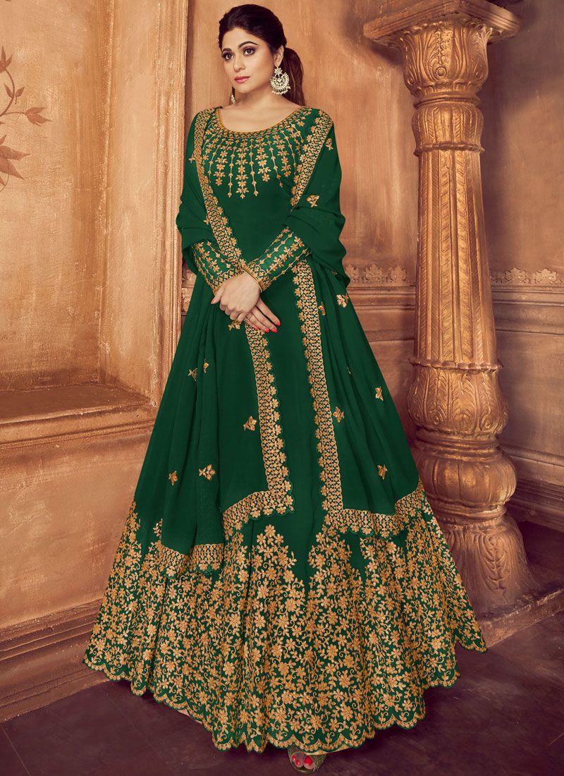 Embroidered Green Faux Georgette Trendy Anarkali Suit