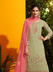 Embroidered Green Georgette Designer Palazzo Salwar Suit