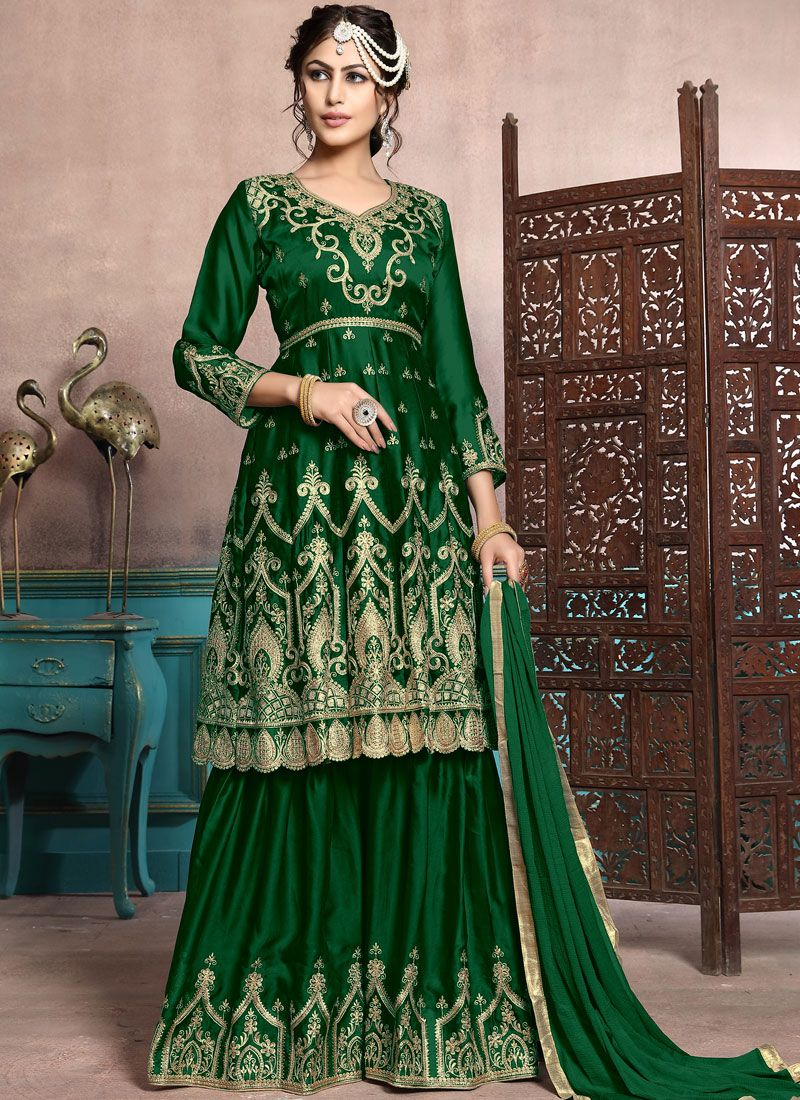 Embroidered Green Georgette Satin Palazzo Designer Salwar Kameez