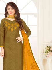 Embroidered Green Jacquard Churidar Suit