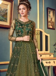 Embroidered Green Long Choli Lehenga