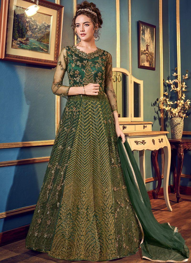 Embroidered Green Long Choli Lehenga