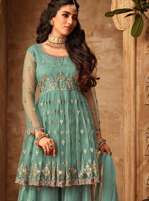 Embroidered Green Net Trendy Palazzo Salwar Suit