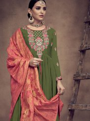 Embroidered Green Rayon Readymade Anarkali Suit