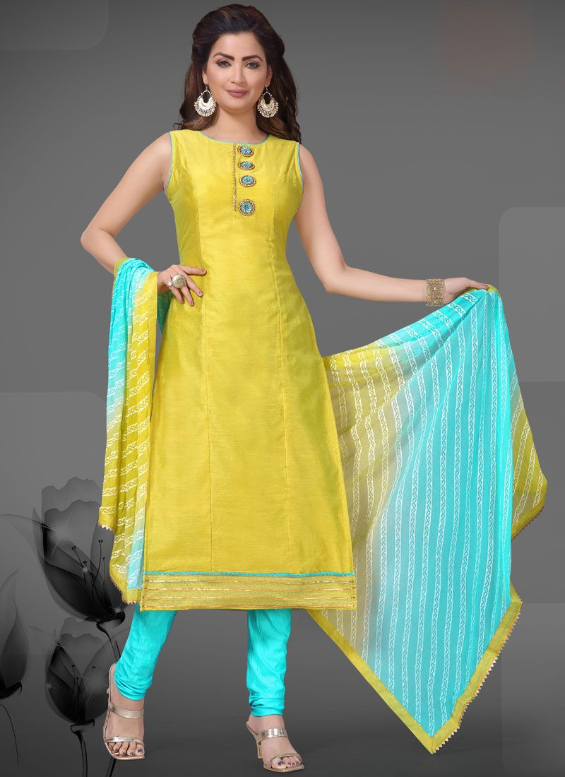 Embroidered Yellow Readymade Suit