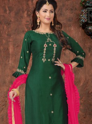 Embroidered Green Readymade Suit