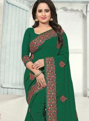 Embroidered Green Silk Silk Saree