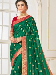 Embroidered Green Traditional Designer Saree