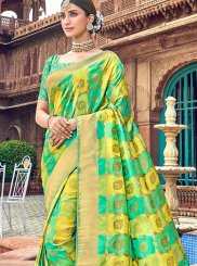 Embroidered Green Traditional Saree
