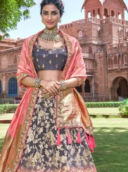 Embroidered Grey and Pink Banarasi Silk Designer A Line Lehenga Choli