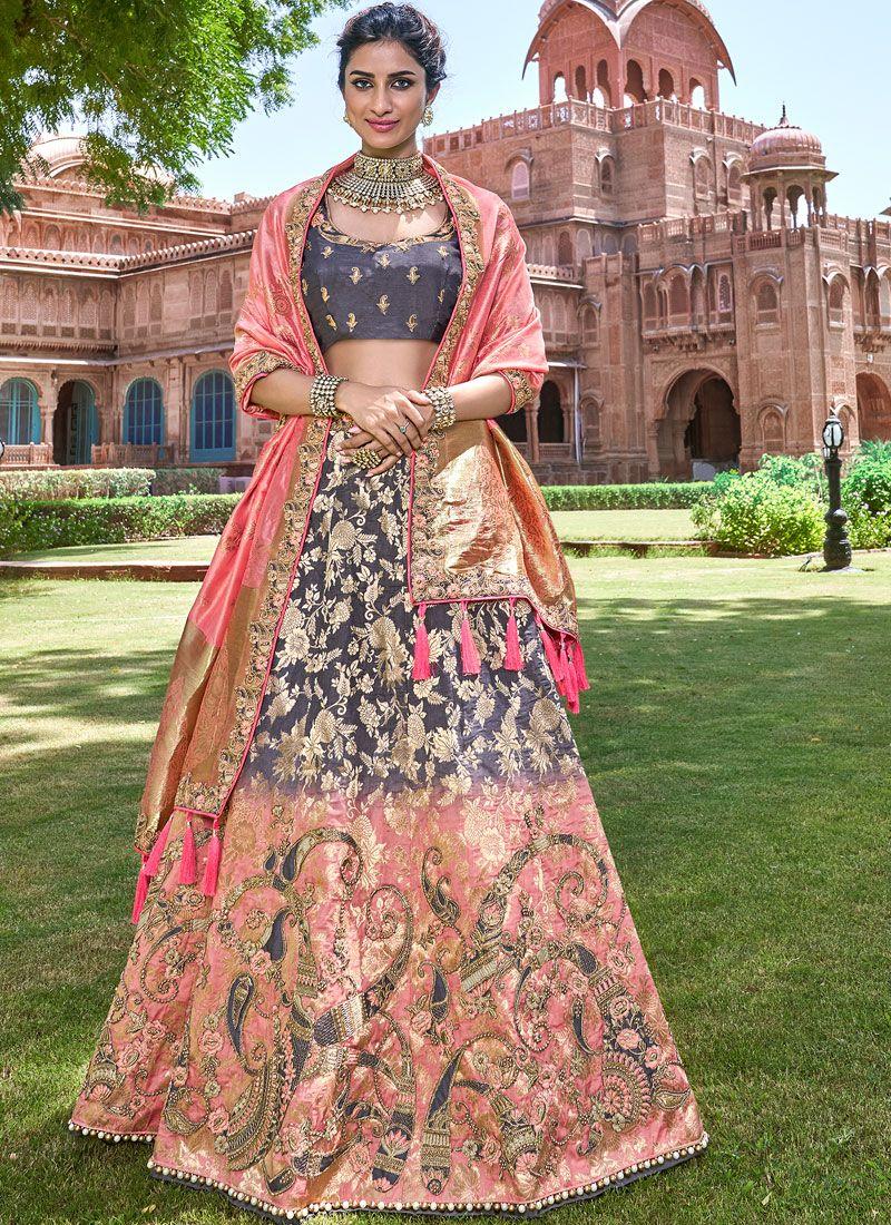 Embroidered Grey and Pink Banarasi Silk Designer A Line Lehenga Choli