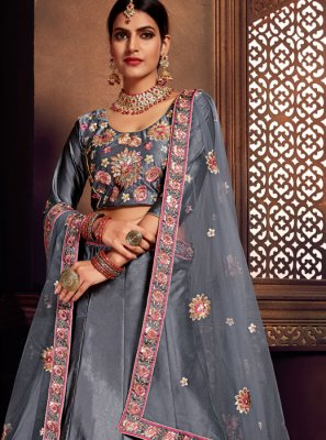 Embroidered Grey Art Silk A Line Lehenga Choli