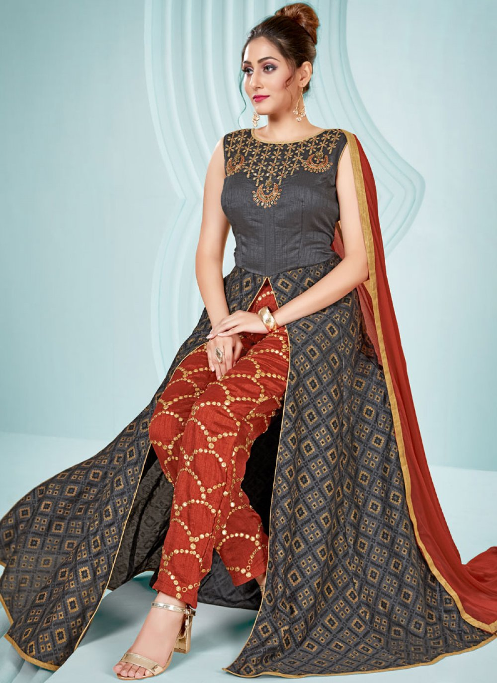 Embroidered Grey Art Silk Readymade Suit