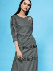 Embroidered Grey Cotton Casual Kurti