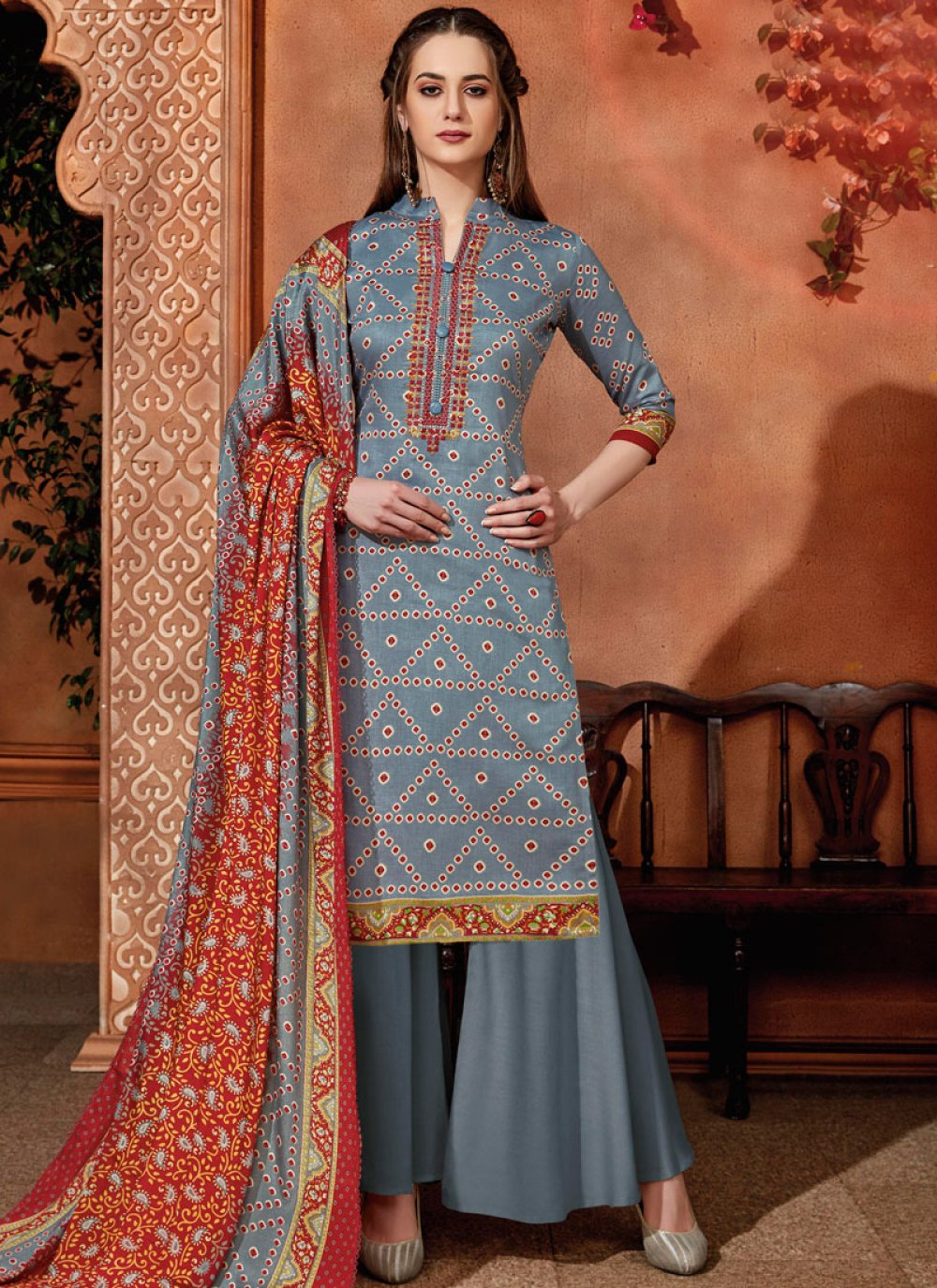 Embroidered Grey Cotton Designer Palazzo Salwar Suit