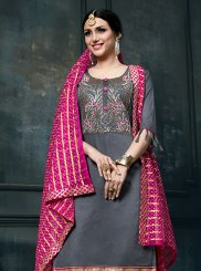 Embroidered Grey Cotton Designer Suit