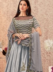 Embroidered Grey Designer A Line Lehenga Choli