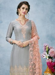 Embroidered Grey Designer Pakistani Suit