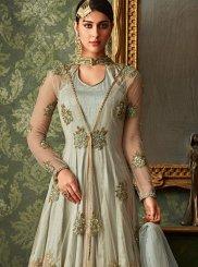 Embroidered Grey Designer Salwar Kameez