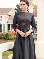 Embroidered Grey Muslin Party Wear Kurti