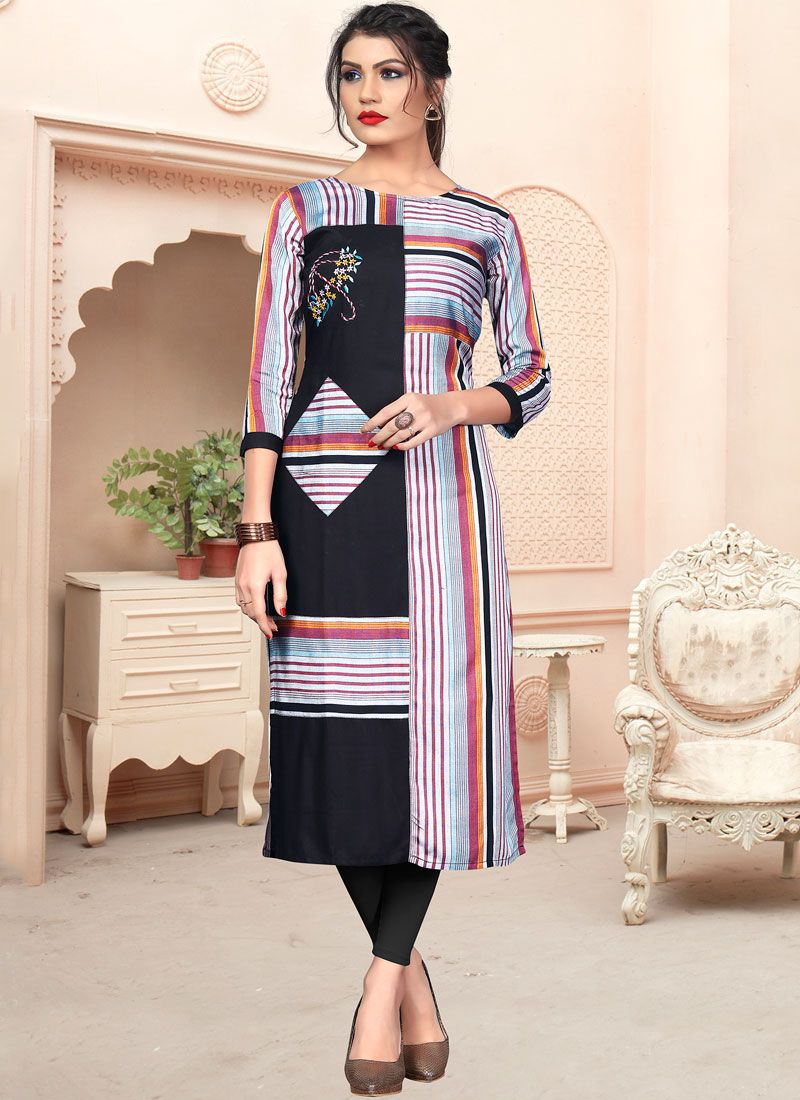 Embroidered Handloom Cotton Multi Colour Party Wear Kurti