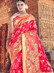 Embroidered Hot Pink Classic Designer Saree