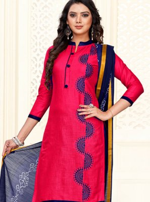 Embroidered Hot Pink Cotton Churidar Salwar Kameez