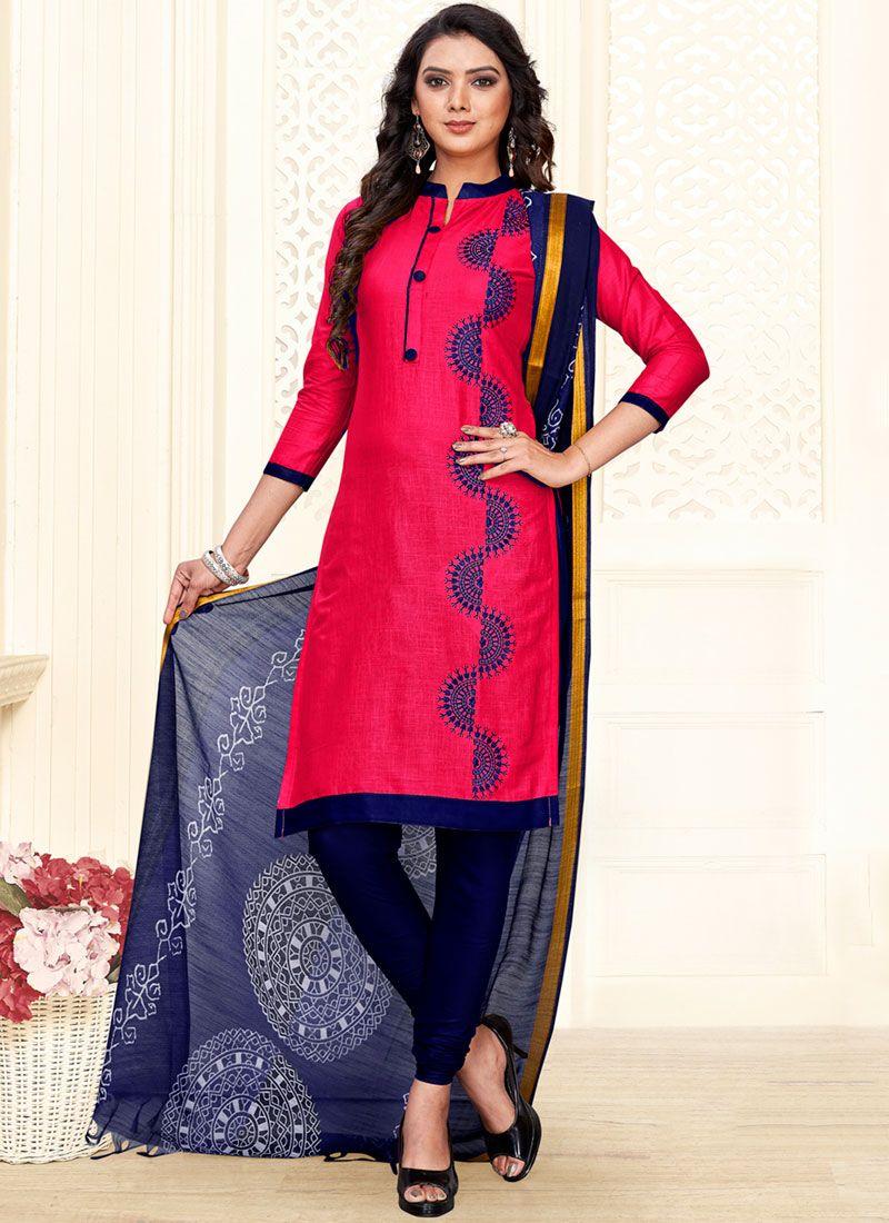 Embroidered Hot Pink Cotton Churidar Salwar Kameez