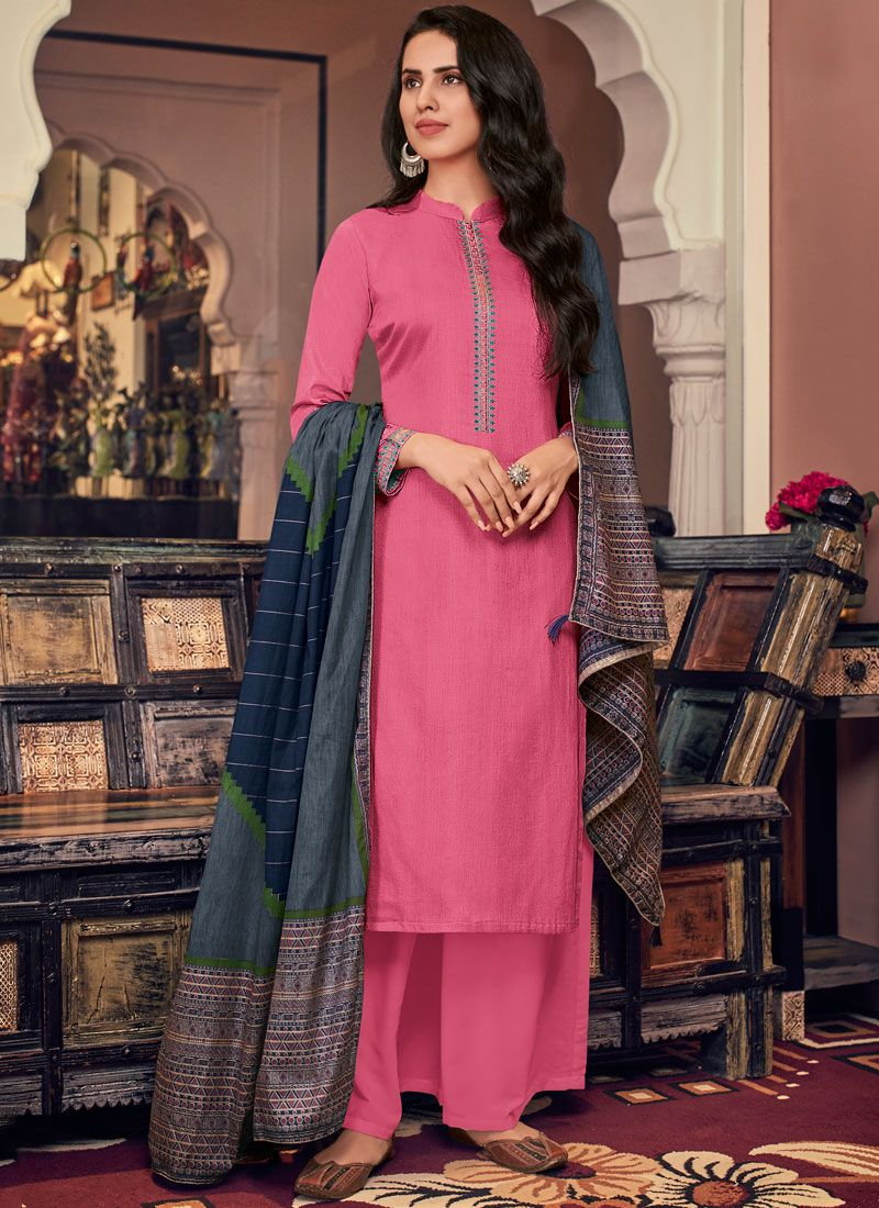 Embroidered Hot Pink Cotton Pant Style Suit