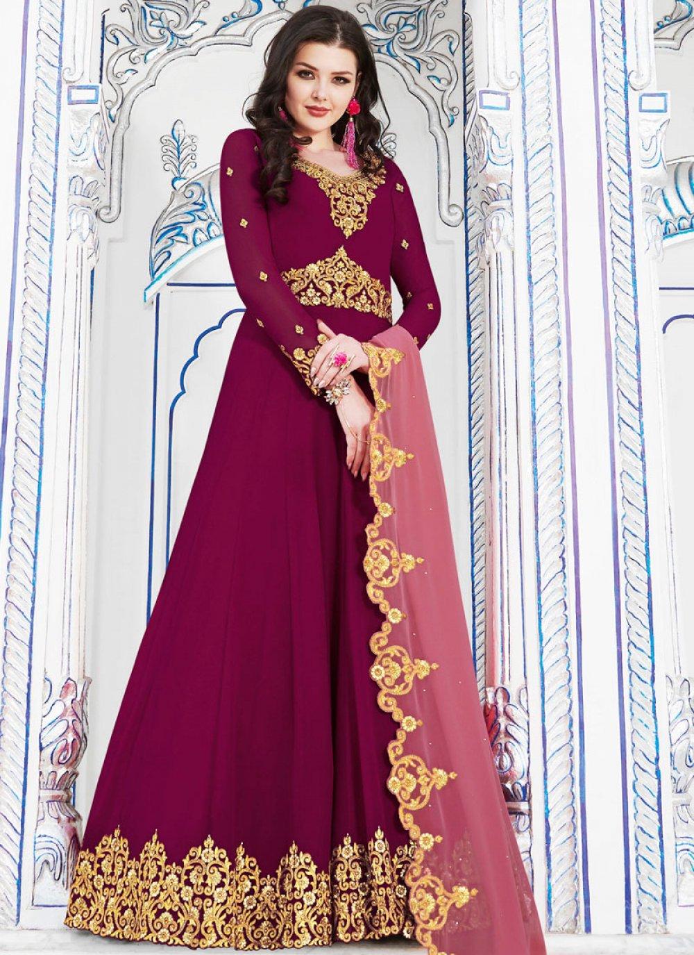 Embroidered Hot Pink Georgette Anarkali Salwar Kameez