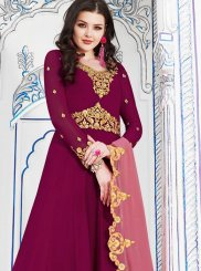 Embroidered Hot Pink Georgette Anarkali Salwar Kameez