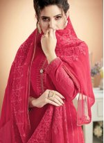 Embroidered Hot Pink Muslin Designer Palazzo Suit