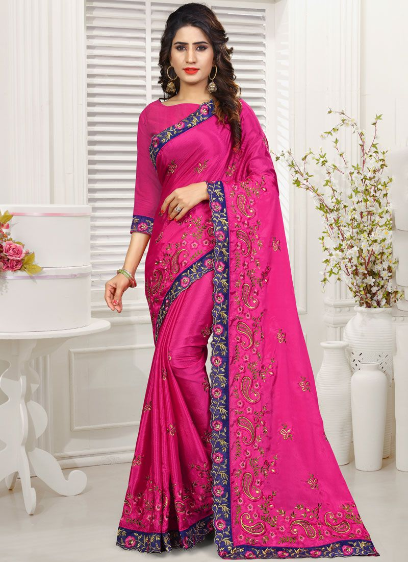 Embroidered Hot Pink Saree