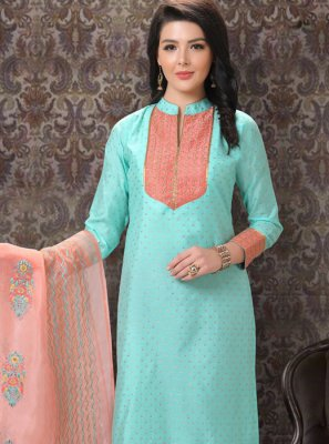 Embroidered Jacquard Aqua Blue Trendy Churidar Salwar Suit