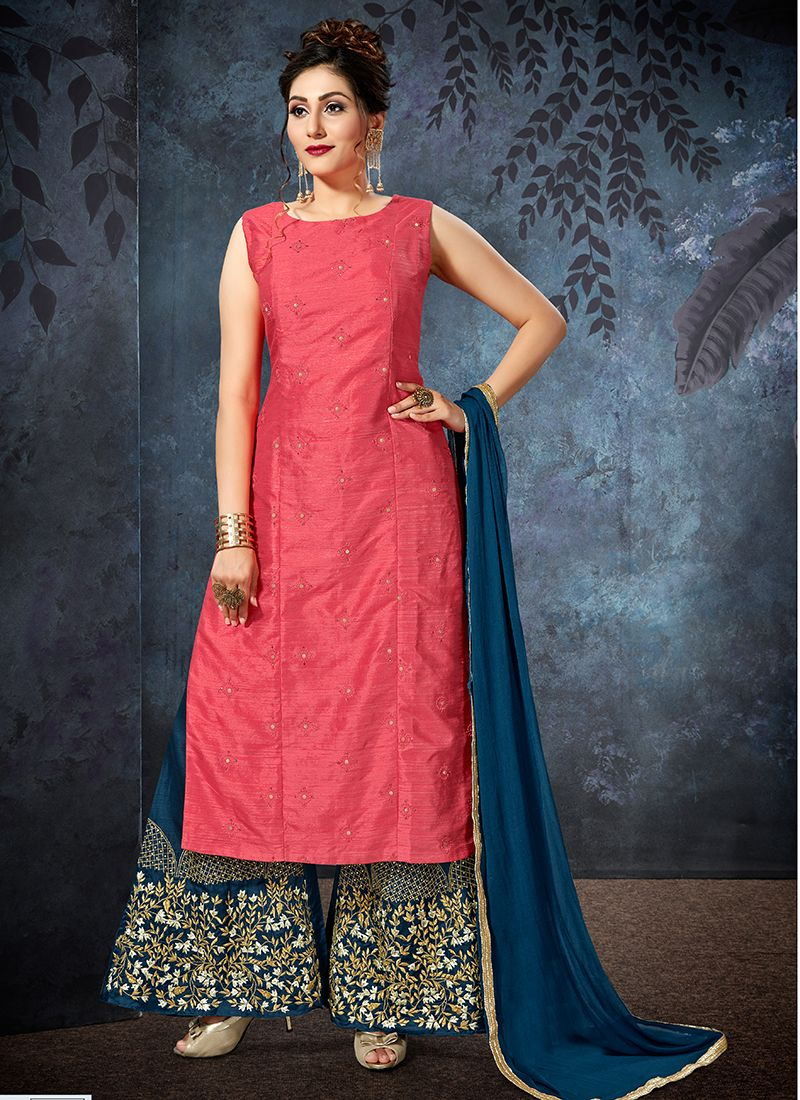 Embroidered Jacquard Designer Palazzo Suit in Pink