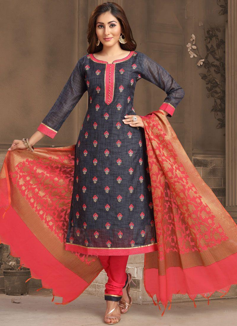Embroidered Jacquard Designer Salwar Suit in Navy Blue