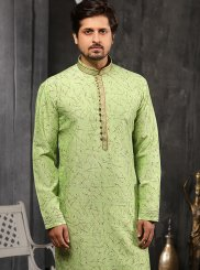 Embroidered Jacquard Indo Western in Green