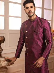 Embroidered Jacquard Indo Western in Magenta