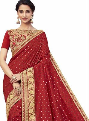 Embroidered Jacquard Maroon Designer Saree
