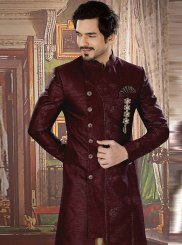 Embroidered Jacquard Sherwani in Black