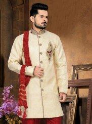 Embroidered Jacquard Sherwani in Cream