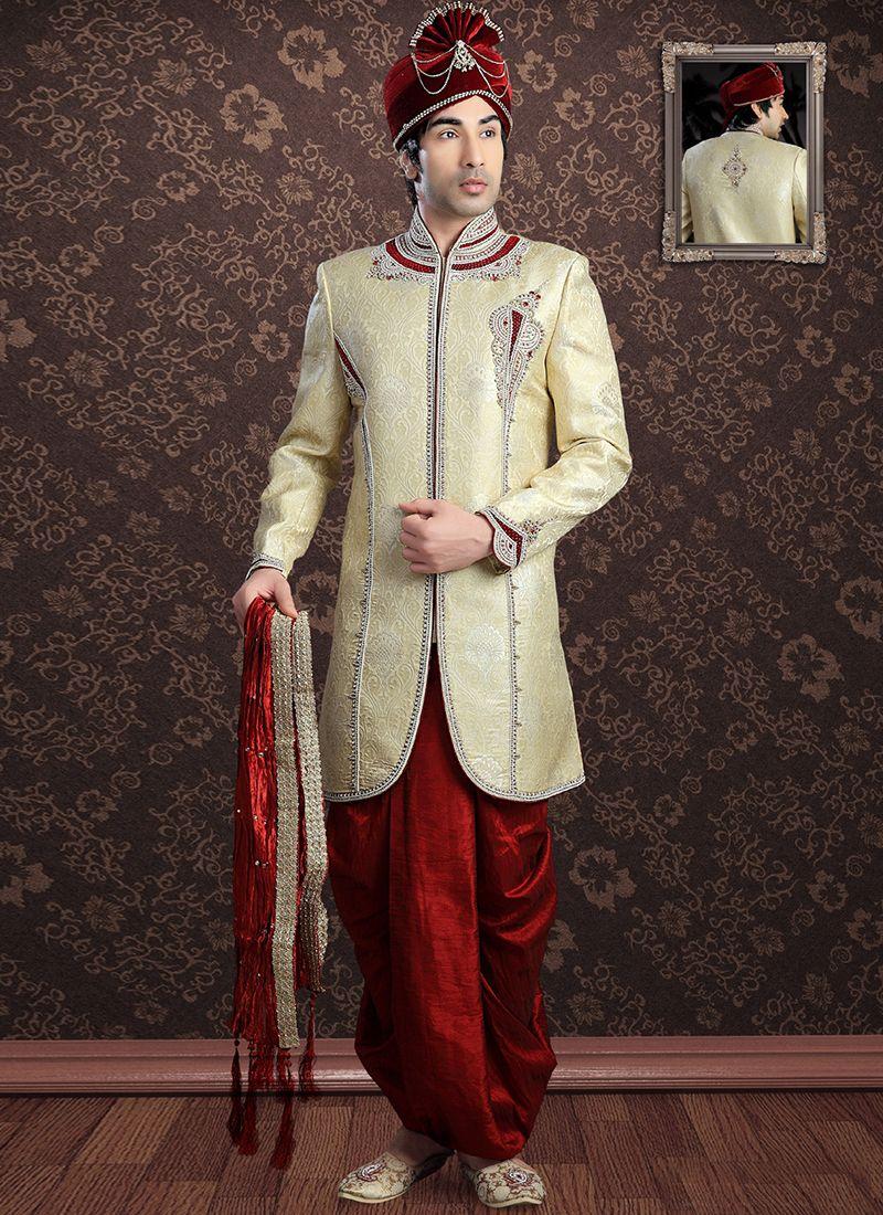 Embroidered Jacquard Sherwani in Gold