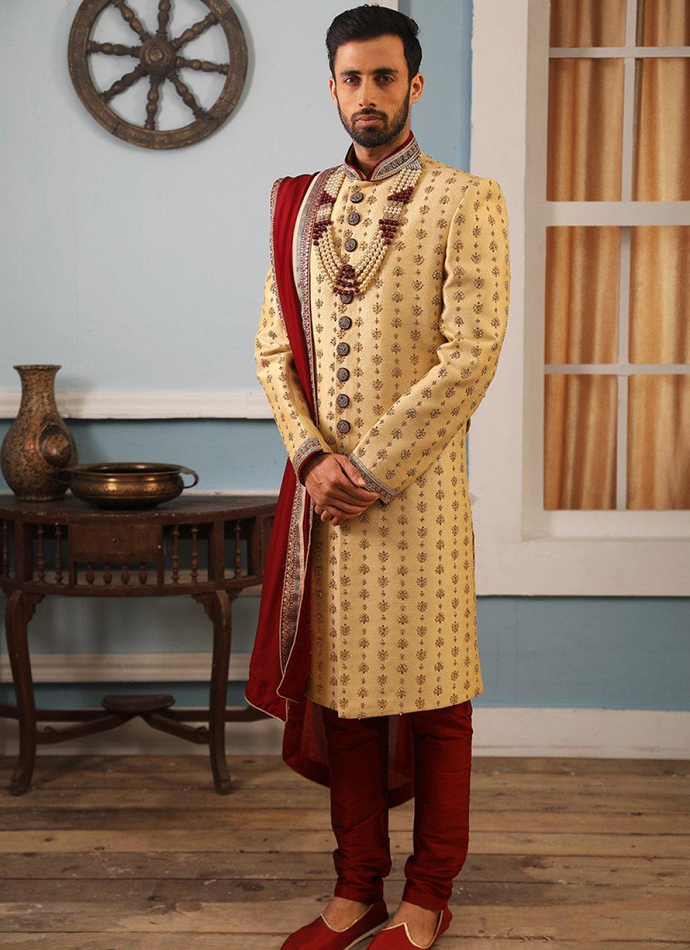 Embroidered Jacquard Silk Sherwani in Gold
