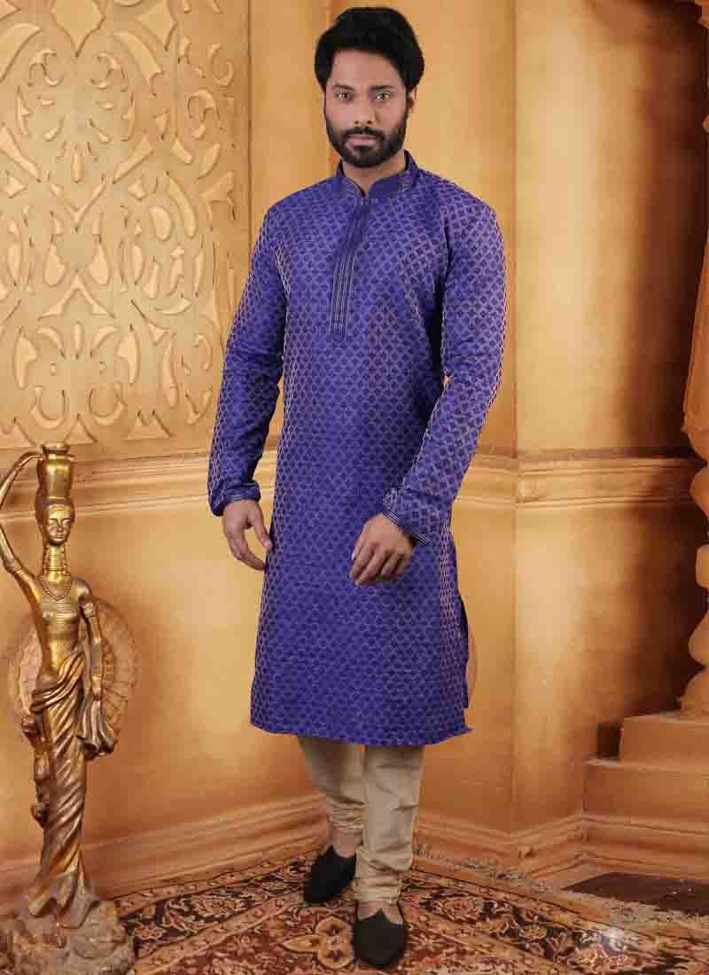 Embroidered Jute Kurta Pyjama in Blue