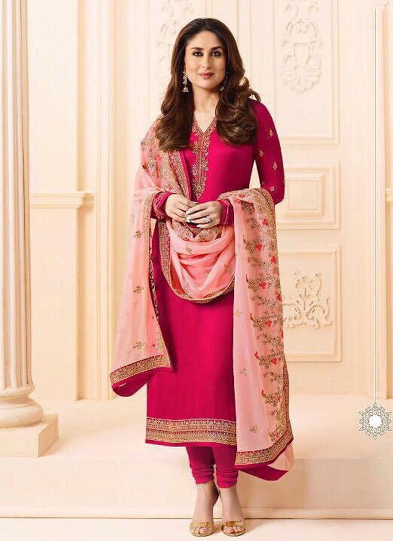 Embroidered Kareena Kapoor Georgette Churidar Salwar Suit