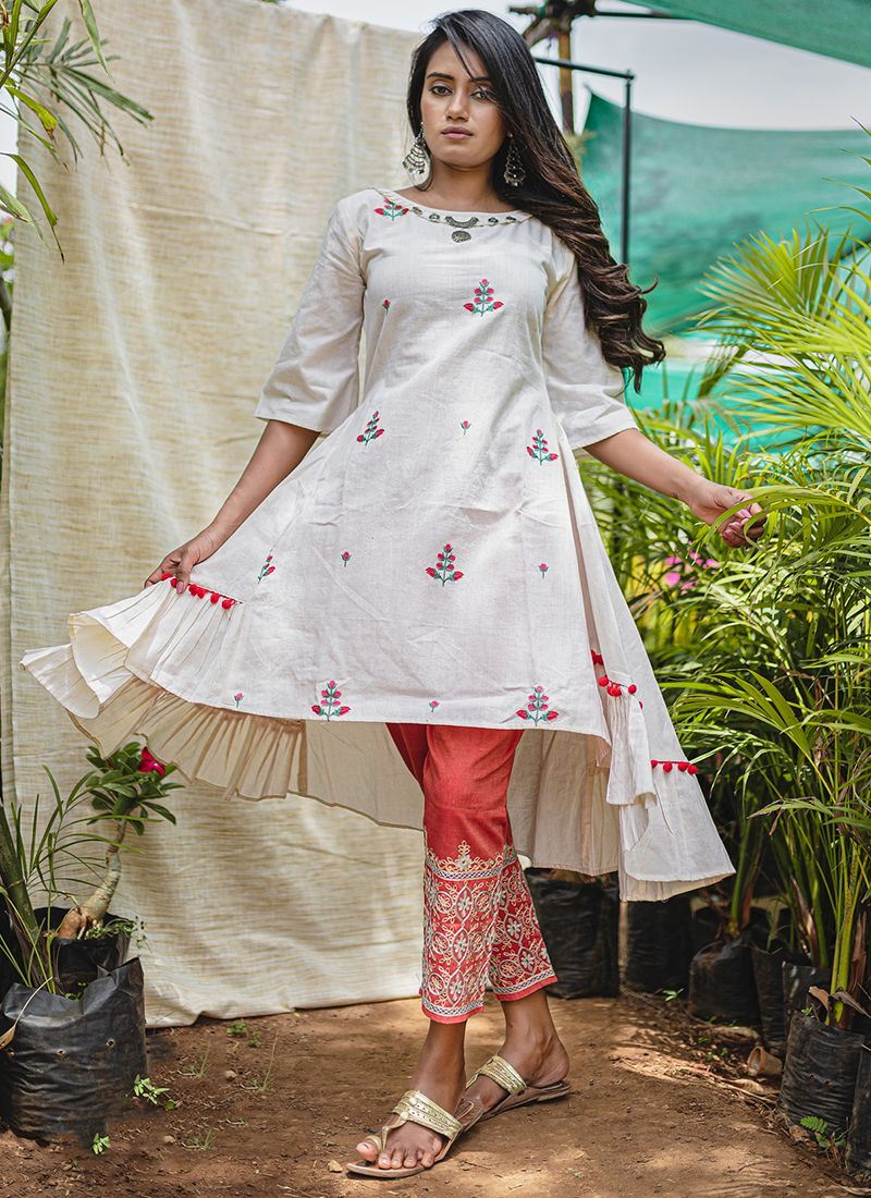 Embroidered Khadi Party Wear Kurti