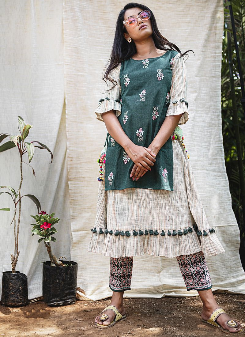 Embroidered Khadi Teal Party Wear Kurti